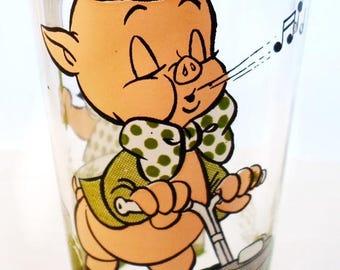 ON SALE Vintage Pepsi Collector Series Porky Pig And Petunia Glass Warner Bros. Inc. 1976 Green, Flesh, Black Cartoon Character Glass