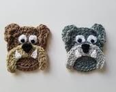 "NEW- 1pc 3"" Crochet BULLDOG Applique"
