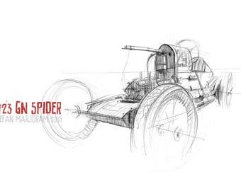 1923 GN Spider - Original A4 Pencil Sketch