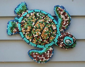 Mosaic Sea Turtle, Beaded Sea Turtle, Garden Decor, Home Decor, Wall Hanging Sea Turtle, Beach Decor, Patio Decor, Animal Decor, Sea Life