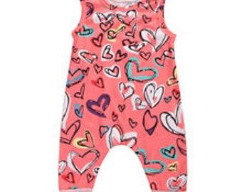 Baby Infant Girl Coral Hearts Pants Jumpsuit Romper Sunsuit Bubble Sun Suit