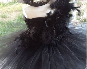 Birthday Black or White Swan with Feathers Costume Tutu Dress with Mask