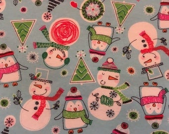 SNOWY FUN Flannel Fitted Crib/Toddler Sheets