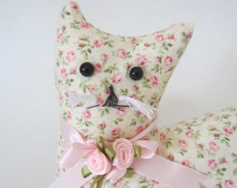 Cat Doll, Petite Pink Rose Cat, Pillow Tuck, Cottage Chic Cat, Cat Shape Pillow, Shelf Sitter, Stuffed Cat, Country Floral Cat