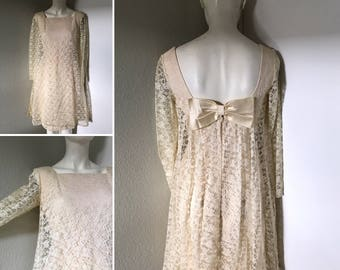 Vintage 80s dress babydoll dress white lace satin bow open back sexy back madonna style dress lace overlay small