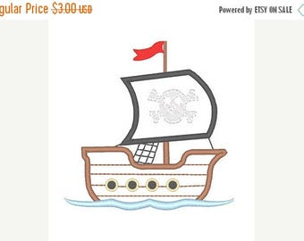 25% OFF Pirate Ship Applique Embroidery Design - Instant Download