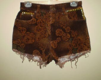 Corduroy Gold Studded Rose High Waisted Shorts