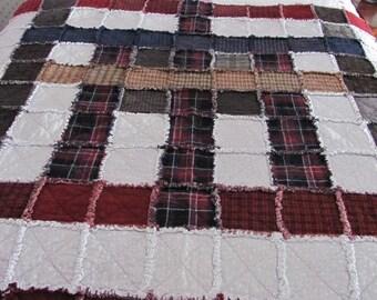 Handmade Plaid Rag quilt