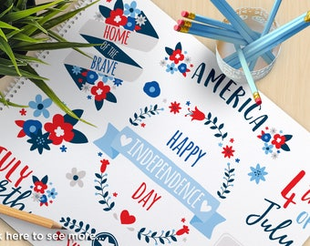 4th of July Flowers, Independence Day Clipart, Floral Wreaths and Laurels, blue and red flowers, commercial use, vector clipart, SVG Cut