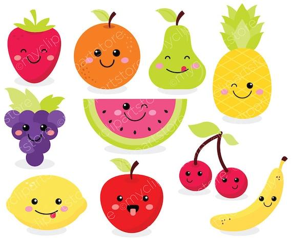 Cute Fruit Clipart, Kawaii Clip Art, strawberry ...