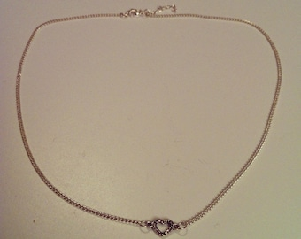 Silver chain with small heart necklace