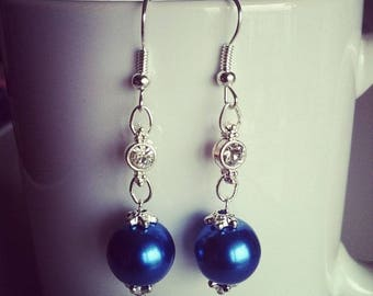 Large blue pearls and rhinestone earrings
