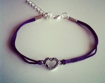 Purple cord with small silver heart bracelet
