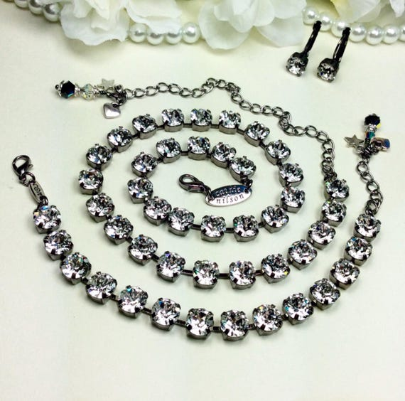 "Swarovski Crystal 8.5mm Necklace   ""Great Gatsby""   Radiant Crystal Clear in Hematite Setting -  Designer Inspired -  FREE SHIPPING"