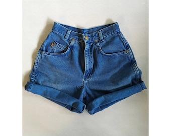 Vintage 1990s 'Chic' Blue Denim High-Waisted Shorts. Size 3
