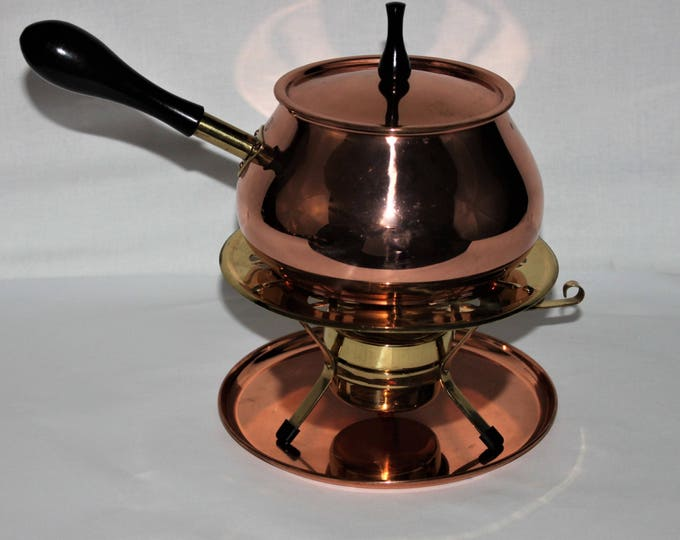 Vintage 5-piece Douro Mid-Century Modern Copper and Brass Fondue/Chafing Pot with warmer and tray from Portugal