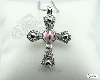 Pick A Pearl Cage Infinity Heart Cross Crystal Accents Silver Plated Locket Charm Necklace