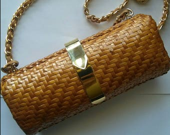 Vintage caramel weaved Summer purse