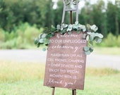 Unplugged Ceremony Sign, Unplugged Wedding Sign, Welcome to our Unplugged wedding, Wooden Wedding Signs, Wood Weddings Signs, Wedding Signs