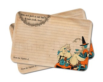 Funny Halloween Recipe Cards - Cat Lady Gift - Kitchen Decor - Vintage Style - Set of 12