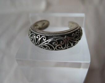 Filigree Sterling Toe Ring Vintage Silver Adjustable 925