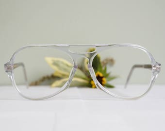 Vintage Eyeglass 1970's Aviator Rare All Clear Tone New Old Stock Glasses Keyhole Bridge Retro Made In Hong Kong