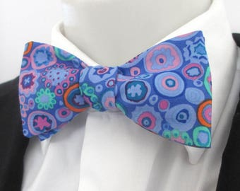 Mens bowtie in a colourful blue patterned fabric - choice of fittings ~ kaffe jassett fabric