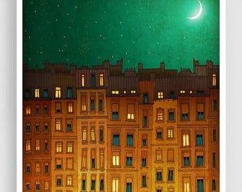 30% OFF SALE: Midnight in Paris - Paris illustration Giclee Art print Home decor Nursery prints Kids wall decor Wall decor Paris cityscape G