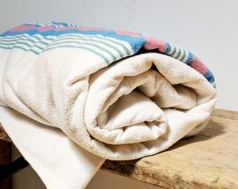 Vintage Cotton Flannel Blanket / Pastel Stripe Blanket / Cotton Throw / Vintage Throw Blanket / Cotton Striped Blanket / Flannel Blanket