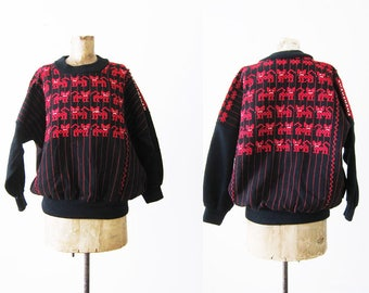 Embroidered Sweater / Mexican Embroidered Shirt / Guatemalan Embroidered Shirt / Cat Sweatshirt / Black Sweatshirt