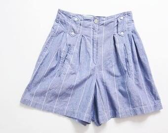 90s shorts - high waisted shorts - blue pinstripe shorts - 90s clothing - pleated shorts - cotton shorts - vintage shorts - chambray shorts