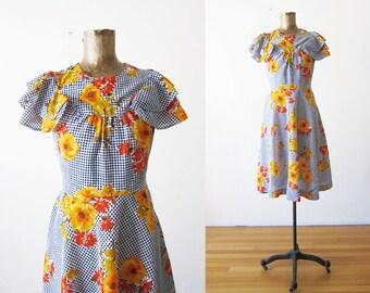 60s Dress - Vintage Floral Sundress - Blue Gingham Dress - Mustard Floral Day Dress - Flutter Sleeve Dress - Blue Plaid Dress  1960s Dress S