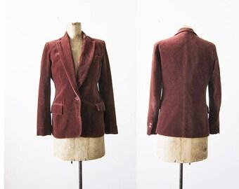 Vintage Blazer - 70s Blazer - Brown Velvet Blazer Jacket - Slim Cut Blazer - Velvet Jacket - 70s Clothing - Small