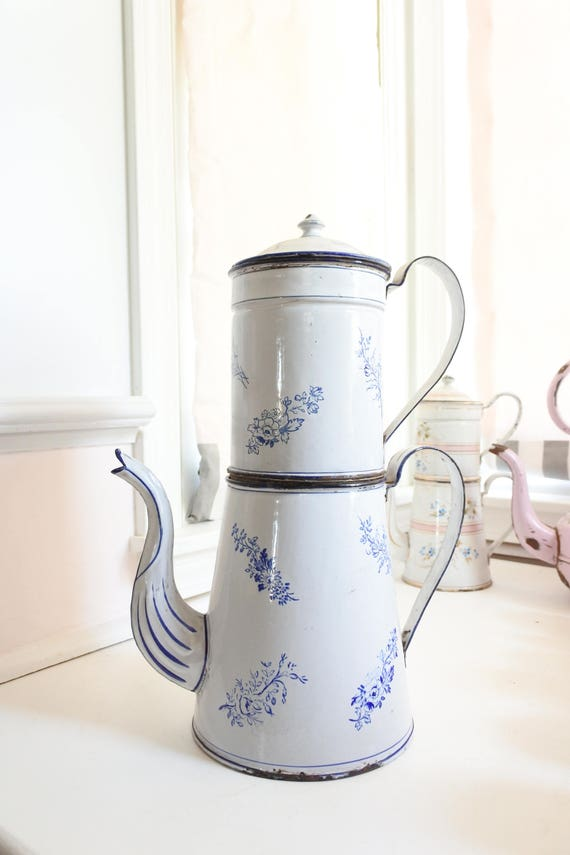French Antique Enamelware Coffee Pot with Filter Very Large