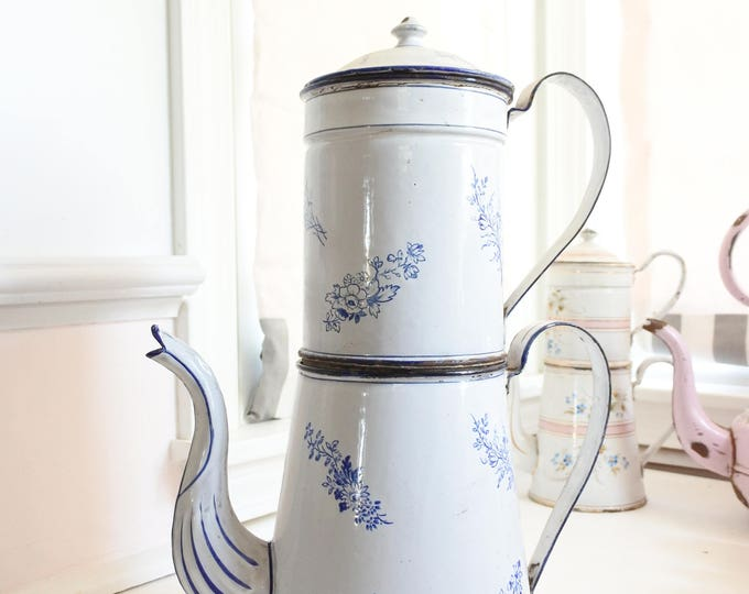 Featured listing image: Marvelous Cafetiére Parisien - French Antique Enamelware Coffee Pot with Filter, Very Large, Blue and White, c. 1880's