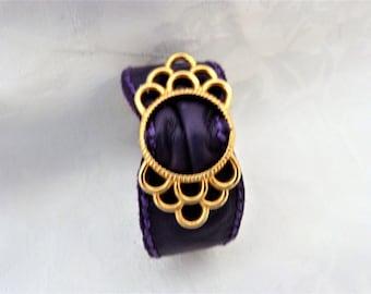 Purple Leather, gold plated Buckle Cuff Bracelet