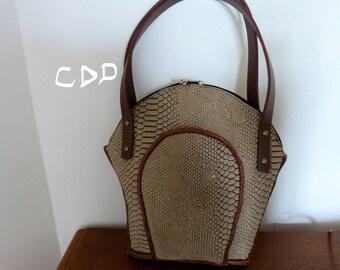 faux leather beige handbag