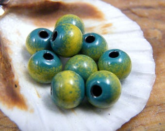 Torched Enameled Copper Beads- Teal It Up-Bohemian-Boho