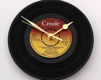 "Little Richard Vinyl Record CLOCK "" Good Golly Miss Molly "" ep ..made from a vinyl 7"" record single vintage retro rock n roll dad grandpa"
