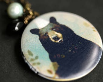 Black Bear Locket Necklace. Woodland Bear Necklace with Black Teardrop and Aqua Fresh Water Pearl. Wildlife Necklace. Handmade Jewelry.