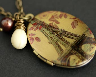 Eiffel Tower Locket Necklace. Oval Locket. Paris Necklace with Off White Teardrop and Dark Red Pearl Charm. Bronze Necklace. Photo Locket.