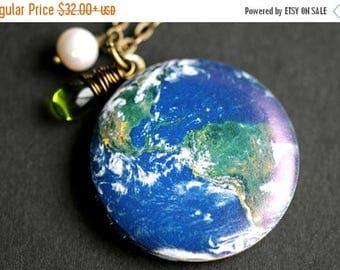 VALENTINE SALE Planet Earth Locket Necklace. Earth Necklace. World Necklace with Green Teardrop and Fresh Water Pearl. Bronze Locket. Handma