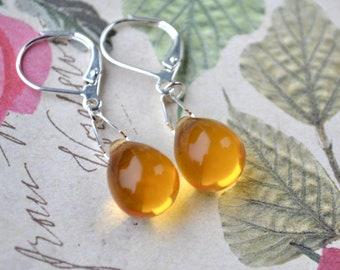 Yellow Dangle Earrings, Teardrop Earrings, Glass Earrings, Yellow Jewelry, Simple Drop Earrings, Leverback Earrings, Bead Earrings, UK shop