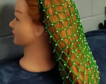 "Net Cotton Beaded Hair Snood/ 12"" XLong"