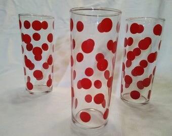 RETRO red polka dot GLASSWARE vintage 1960's