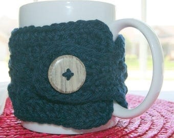 Coffee Mug - Navy Blue -  Button Sleeve Insulator Wrap - Hand Crochet - Thinking Of You Gift - Cotton Yarn - Handmade - Morning Joe