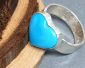 Heart Ring, Sterling Silver Stamped Ring, Word Ring, Turquoise Ring, Silver Heart Ring, Rustic Jewelry, Hammered Silver Ring