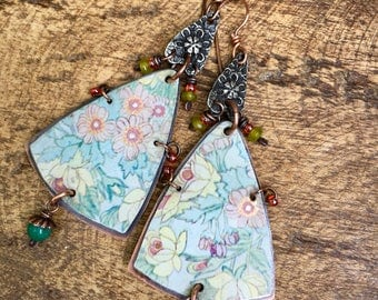 Tin Jewelry Rustic earrings n359. recycled tin . pink floral garden . copper boho bohemian . floral tin . flower branches ; tin collectors