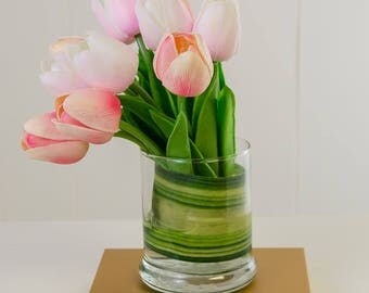 Real Touch Tulip Arrangement - Pink Tulip Flowers Artificial Arrangement Faux Floral in Glass Vase Arrangement Home Decor - Silk Arrangement