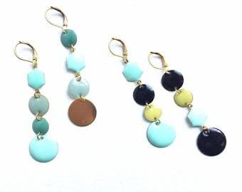 Fabulous Retro Geometric Mismatching Enamel Earrings Colourful